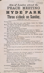 Advertisement for a peace meeting at Hyde Park